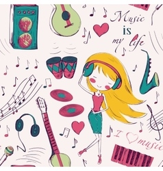 girl and music seamless pattern vector image