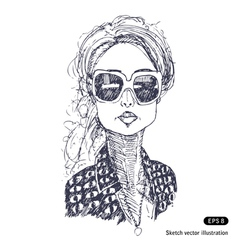 Girl with big sunglasses vector image