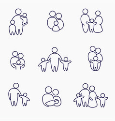 happy family icons symbols collection linear vector image vector image