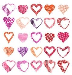 Hearts symbols set different shapes and textures vector
