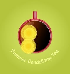 Herbal tea with dandelions summer season vector