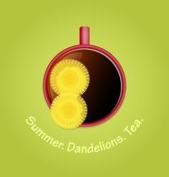 Herbal tea with dandelions Summer season vector image vector image
