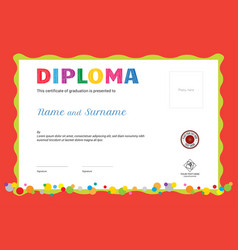 Kids summer camp diploma or certificate template vector