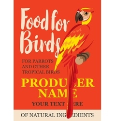 Label feed tropical birds vector