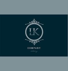 lk l k blue decorative monogram alphabet letter vector image