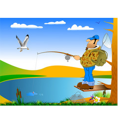 Morning of the fisherman vector