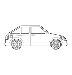 Outline hatchback car body style icon vector