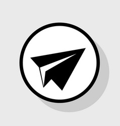 Paper airplane sign flat black icon in vector