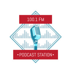 Podcast station logo with microphone on vector