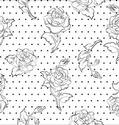 roses on dots seamless pattern vector image vector image