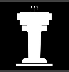 rostrum with three microphone the white color vector image