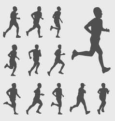 Run silhouettes set vector