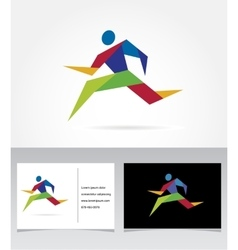 Running marathon people run colorful icon vector