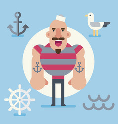 sailor character in minimalist flat style vector image vector image