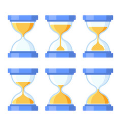 sandglass icons set flat style design vector image