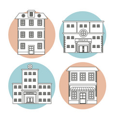 set differents building house business line vector image vector image
