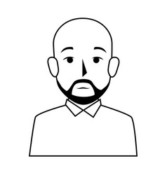 Silhouette half body bald man with beard vector