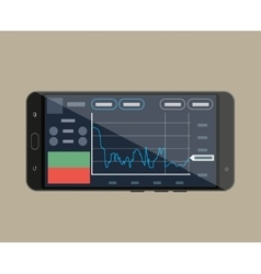 Smart-phone with trading application vector image vector image