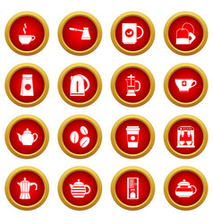 Tea and coffee icon red circle set vector