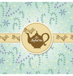 Teapot with herbal pattern vector image