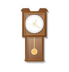 Vintage wooden pendulum clock icon vector