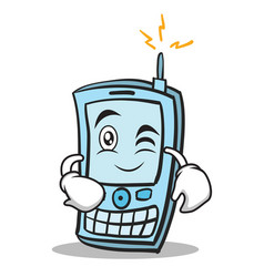 Wink face phone character cartoon style vector