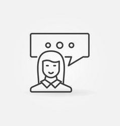Woman with speech bubble icon vector