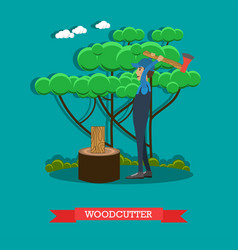 Woodcutter flat in flat style vector
