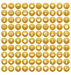 100 food icons set gold vector image vector image