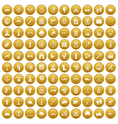 100 target icons set gold vector