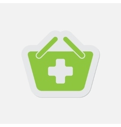 Simple green icon - shopping basket plus vector