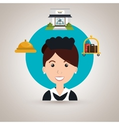 housekeeper maid hotel service vector image