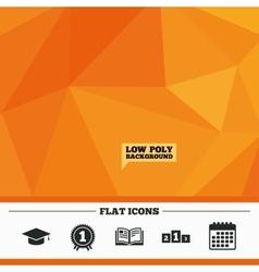 Graduation icons education book symbol vector