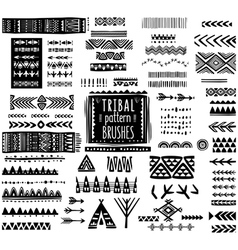 Set of ethnic pattern brushes vector image