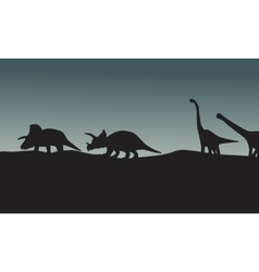 Silhouette of triceratops and brachiosaurus vector