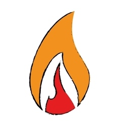 Drawing flame fire glowing temperature hot vector