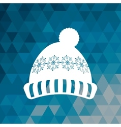 Knitted cap winter blue abstract background vector