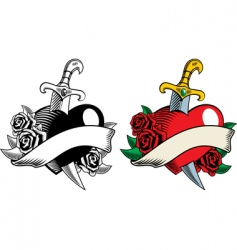 Dagger and roses tattoo vector