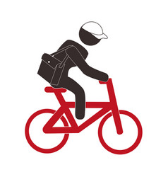 color pictogram with messenger man in bike vector image