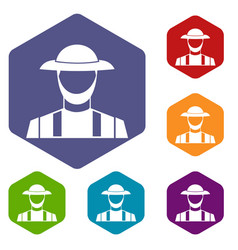 farmer icons set vector image