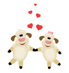Two cute lamb lovers on a white background vector