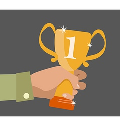 Flat design concept icon of winner cup in hand vector