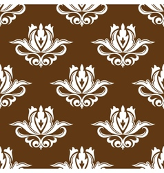 Brown and white floral seamless pattern vector
