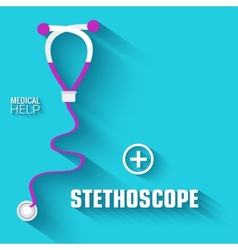 Flat medical stethoscope background concept vector