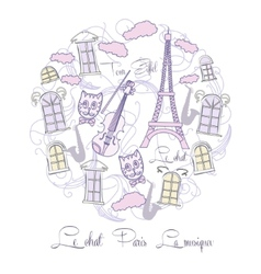 Background with tour eiffel and saxophone vector