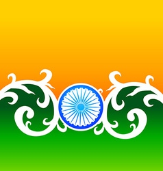 Creative indian flag design with wheel and florals vector