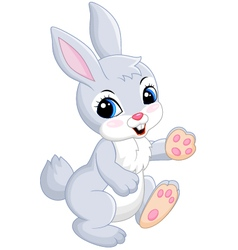 Baby of gray rabbit on white background vector image