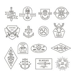 Vintage outline emblem and label design vector