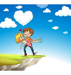 Man carrying woman on the cliff vector