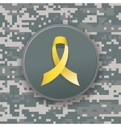 Military camo pattern and yellow ribbon vector